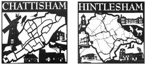 The Chattisham and Hintlesham village signs. Each shows an outline of the boundary, major roads etc, in the style of a hand-drawn map